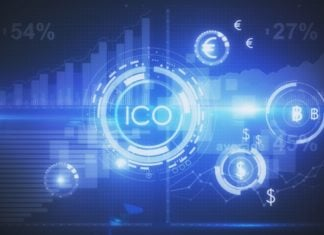Abstract glowing digital currency button ICO initial coin offering on virtual digital electronic user interface. Cryptocurrnecy concept.