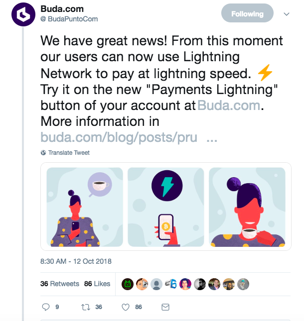 Buda announce lightning network integration