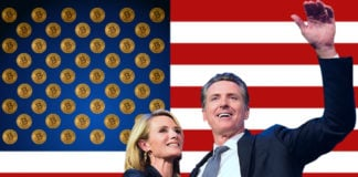 California's governor-elect Gavin Newsome celebrates with his wife, superimposed onto an American flag.
