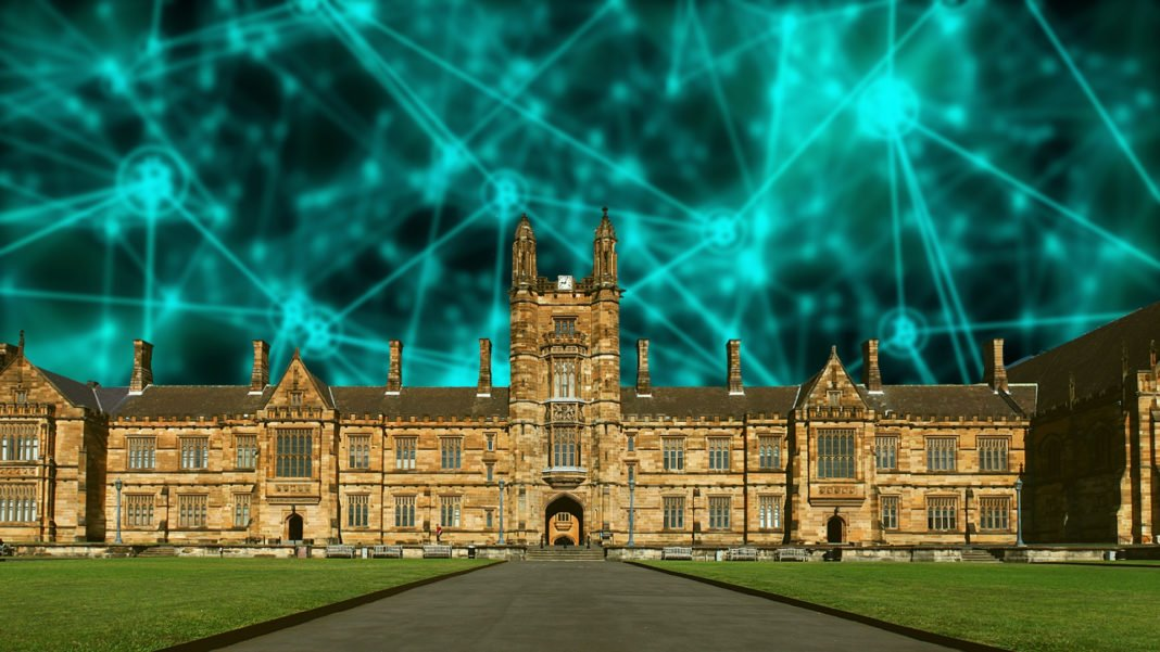 University of Sydney building with artist rendering of blockchain superimposed beneath.