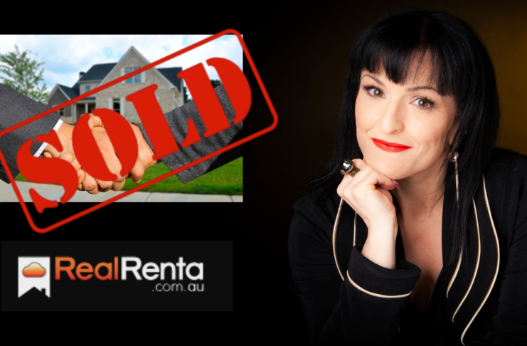 Marlene Liontis next to the RealRenta logo and a sold sign