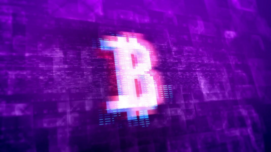 3d rendering of a white bitcoin sign with tith pink contour placed in the center of the screen in the violet background covered with sparkling lines and unclear forms in a hi-tech presentation